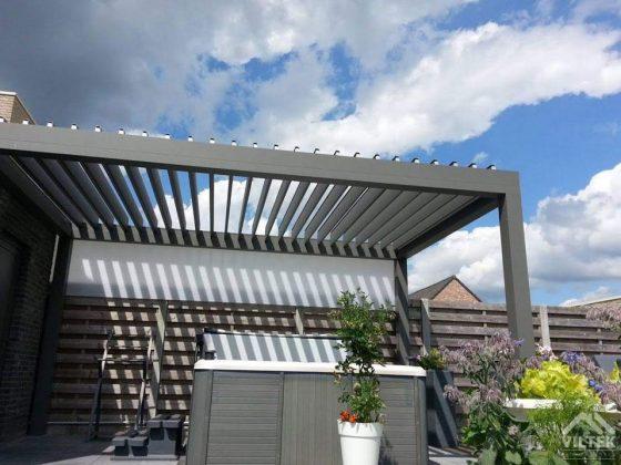 Proyectos e instalación de cerramientos para terrazas, balcones, áticos y negocios, con cortinas de cristal, techos para terrazas móviles y fijos, pérgolas bioclimáticas, estores para terrazas, toldos y lonas. Pérgola bioclimática móvil